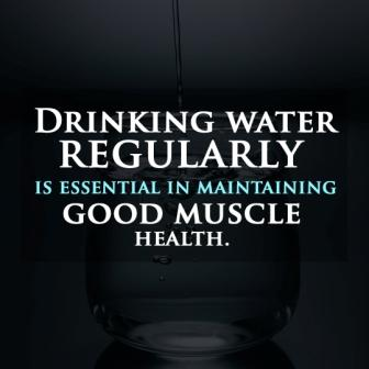"""vegan diet quote """"Drinking water regularly is essential in maintaining good muscle health"""""""